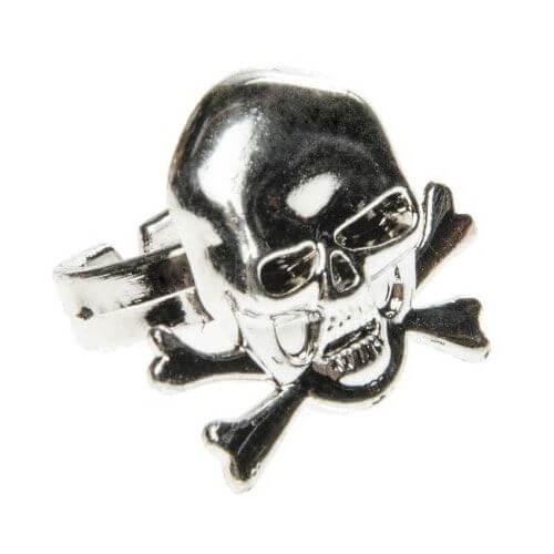 piratenring met doodshoofd zilverkleurig